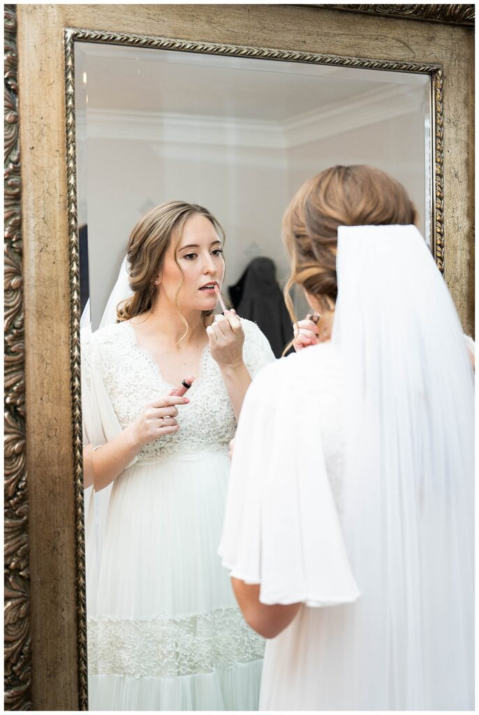 Bride getting ready pictures with bridal makeup
