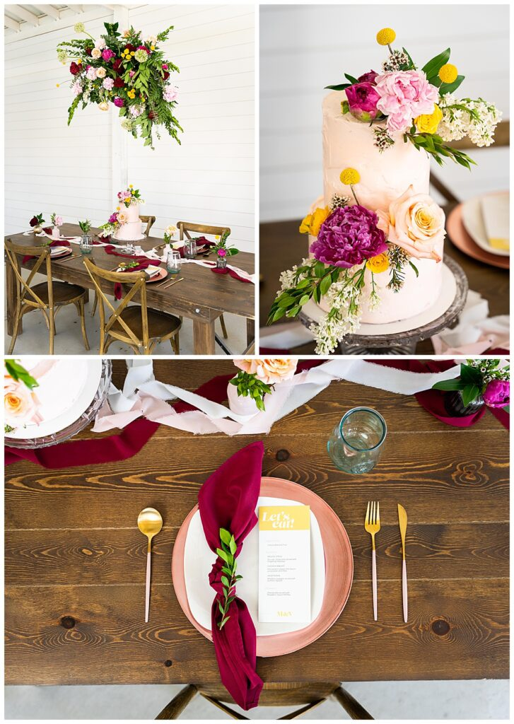 colorful wedding at white antler venue